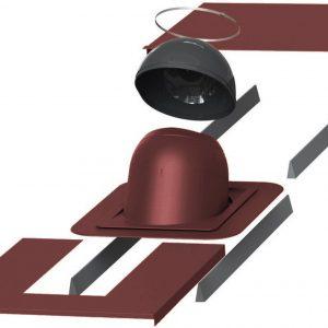 Проходной элемент для дымовой трубы круглой диаметром (метал/фальц)  280-300 мм PIIPPU красный