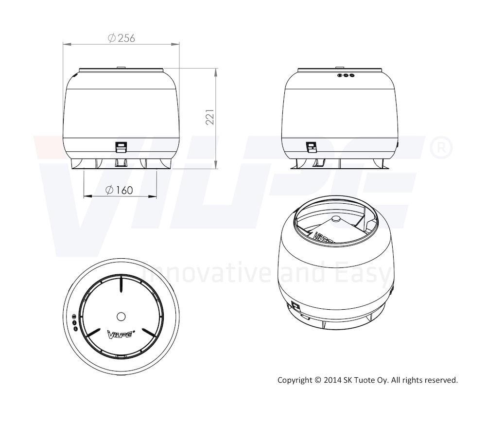 Колпак дефлектор для труб Vilpe 160 мм светло-серый