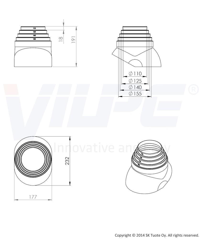 Антенный ворот EPDM-резина Ø110 - 155 серый