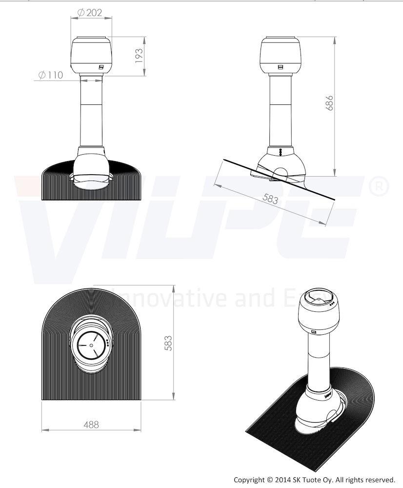 Дефлектор для скатной кровли ALIPAI - 110/500 мм черный