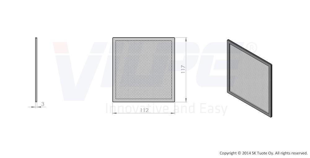 Сетка вентиляционной решетки 150х150 к решетке 150х150 серый