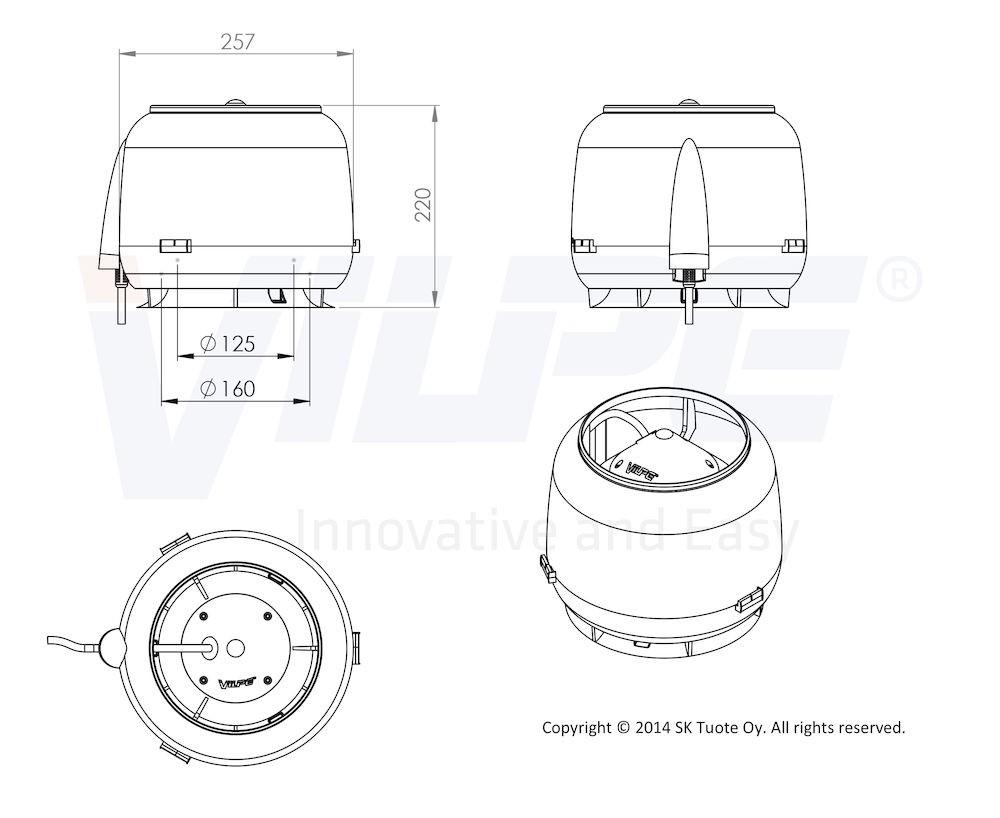 Вентилятор воздуховода E120S 0-400 м3/ч кирпичный