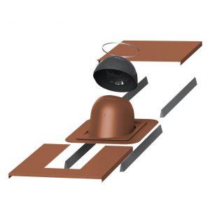 Проходной элемент для дымовой трубы круглой диаметром (метал/фальц)  280-300 мм PIIPPU кирпичный