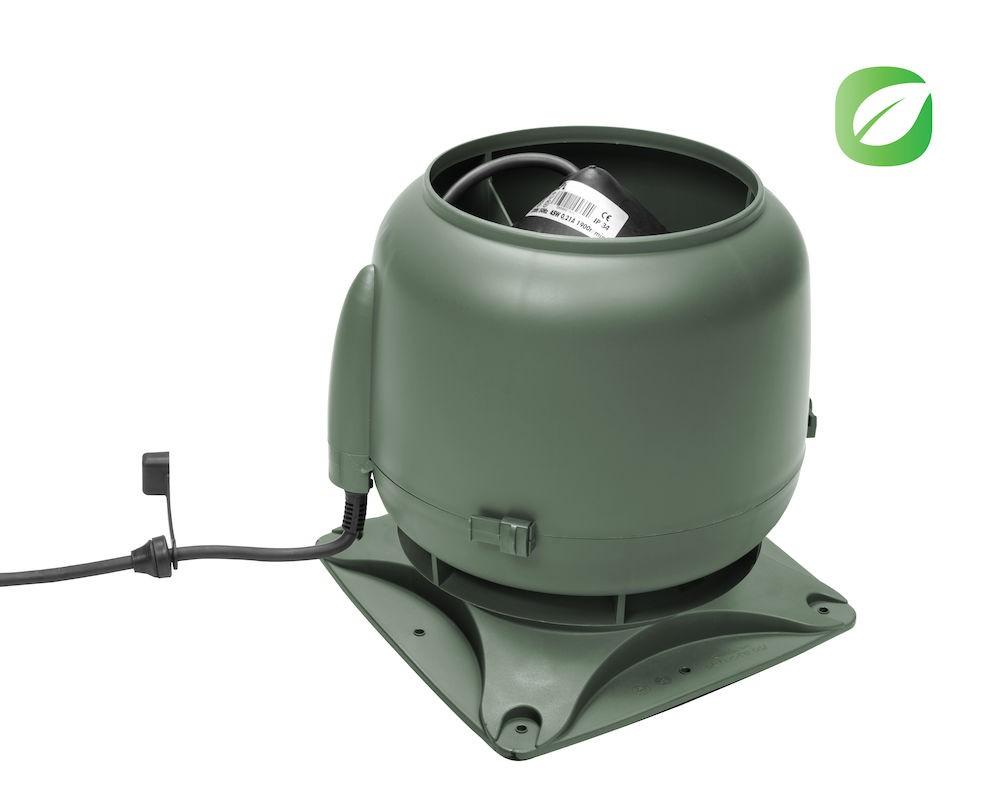 Вентилятор ECo110S  0 -600 м3/ч для биотуалетов и удаления радона зеленый