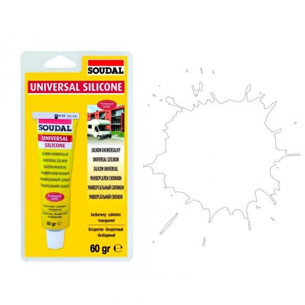Soudal универсальный силиконовый герметик белый (60 мл в блистерах)