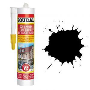 Soudal универсальный силиконовый герметик черный (280 мл)