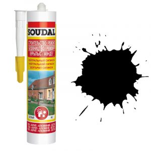 Soudal нейтральный силиконовый герметик черный (280 мл)