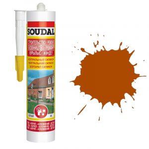 Soudal нейтральный силиконовый герметик коричневый (280 мл)