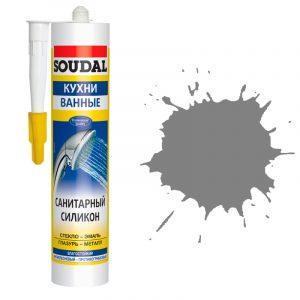 Soudal санитарный силиконовый герметик серый (280 мл)