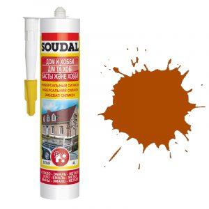 Soudal универсальный силиконовый герметик коричневый (280 мл)