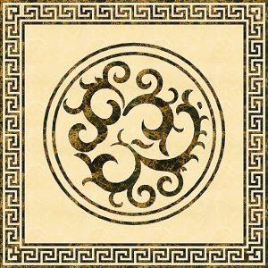 Декоративный мрамор на керамике WJ-003L Latte/ Dark Emperador 1200 х 1200