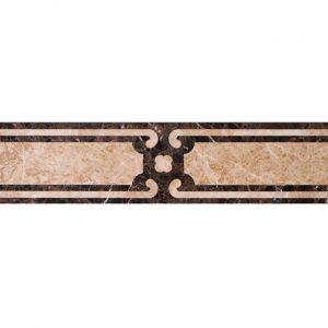 Декоративный мрамор на керамике B03-2L Dark Emperador/ Latte 800 х 150