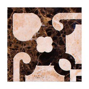 Декоративный мрамор на керамике B03-1L Dark Emperador/ Latte 150 х 150