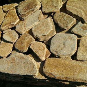 Камень облицовочный натуральный Златолит серебристо-зеленый,желтый , галтованый