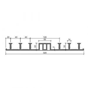 Гидрошпонка Аквастоп ДО 320 ПВХ - чертеж разреза с размерами