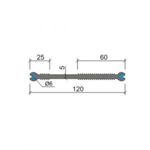 Гидрошпонка ХВС Аквастоп - 120 мм по бокам изображены бентонитовые разбухающие шнуры диаметром 6 мм