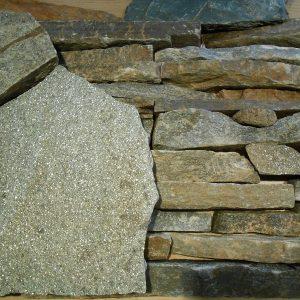 Камень облицовочный натуральный Златолит серебристо-зеленый,желтый
