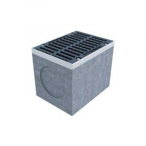 Верхняя часть дождеприемного колодца бетонного, комплект с решеткой 509х640х650