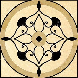 Декоративный мрамор на керамике WJ-005C Black marqina/ Cream Marfil/ Oman Beige 1200 х 1200