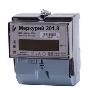 Счетчик однотарифный 1*230 5(80)А класс точности 1 ЖКИ на DIN-рейку Меркурий 201.8