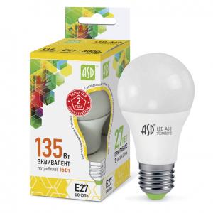 Лампа светодиодная LED-A60-standard 15Вт 230В Е27 4000К 1350Лм ASD