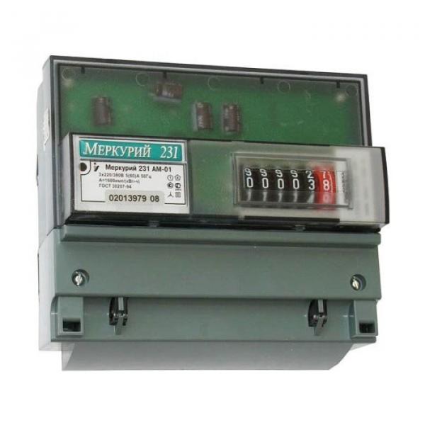 Счетчик однотарифный 3*230/400 5(60)A класс точности 1.0 DIN-рейку Меркурий 231 AM