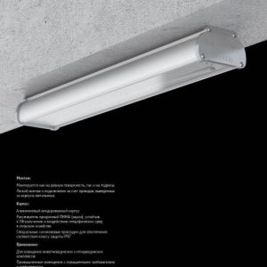 Аварийный светодиодный светильник «ВАРТОН» Айрон-АГРО 1215*109*66 мм класс защиты IP67 с акрил рассеивателем 36 ВТ 4000К,