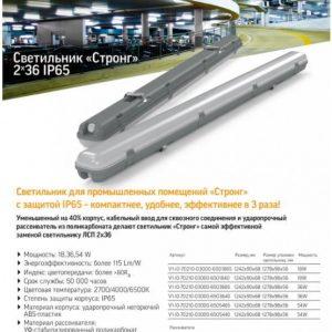 Аварийный светодиодный светильник «ВАРТОН» СТРОНГ промышленный класс защиты IP65 1242*90*68 мм 54 ВТ 4000К