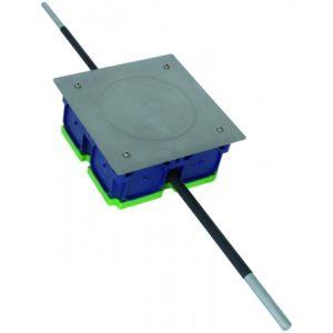 Инспекционный люк UP 160x160x68 мм с жёсткими проводниками Rd 8 и 10 мм длиной ок. 200 мм