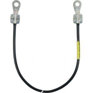 Заземляющий кабель с двумя открытыми наконечниками (1xM8/M10 и 1хМ5/M6) 10мм² L=0,35м чёрный