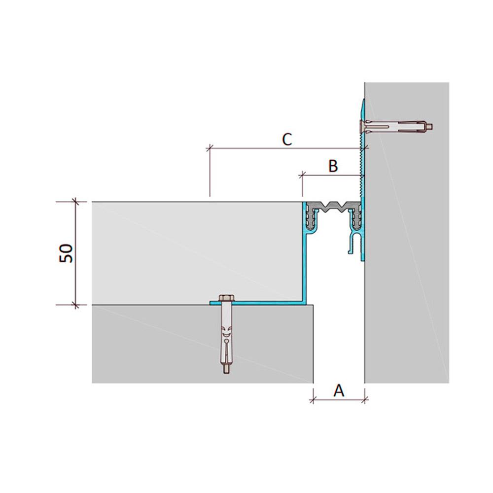 Закладной профиль для деформационного шва ДШЛ-50-УГЛ/035