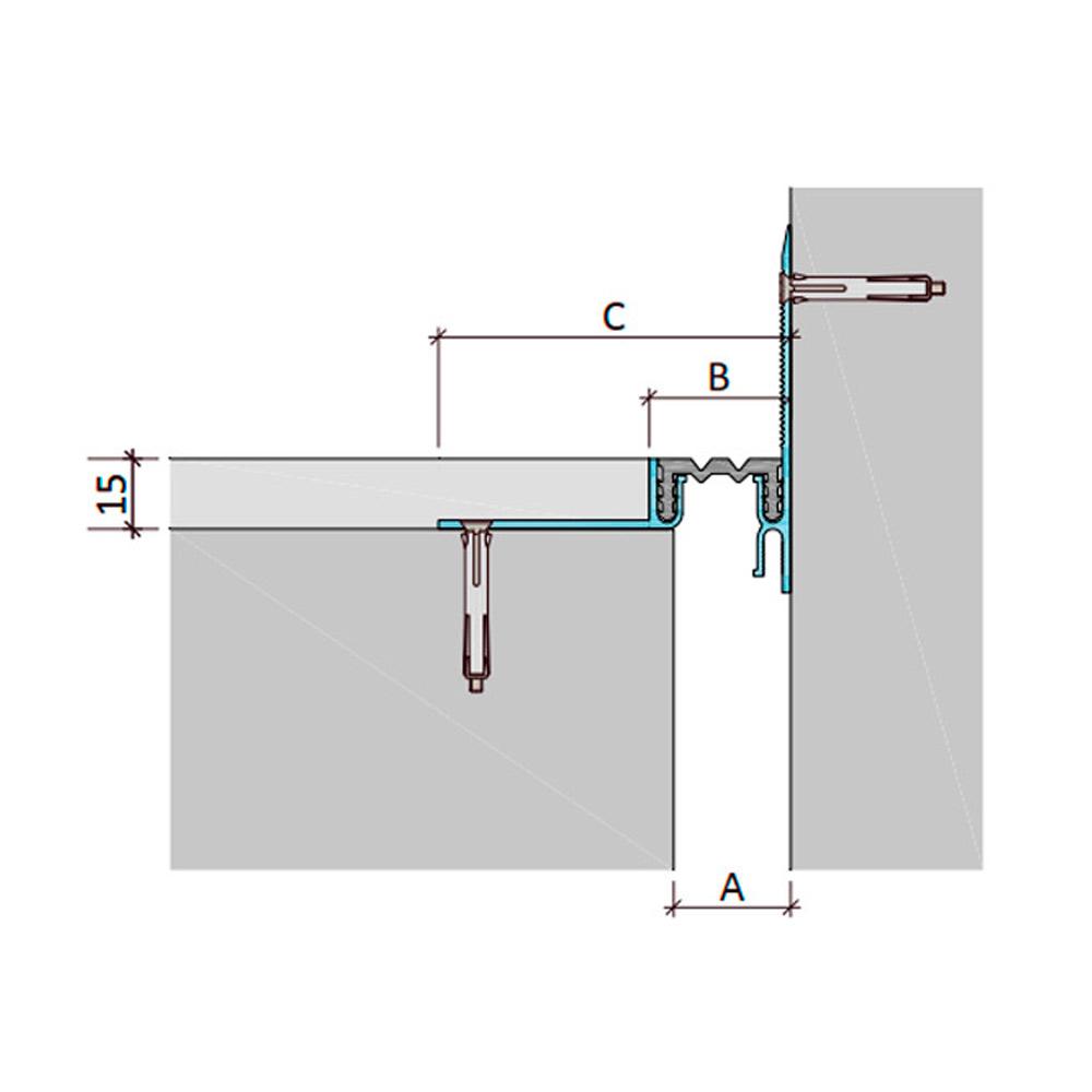 Закладной профиль для деформационного шва ДШЛ-15-УГЛ/035