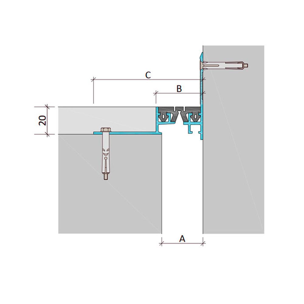 Закладной профиль для деформационного шва ДШВ-20-УГЛ/065 В0-068