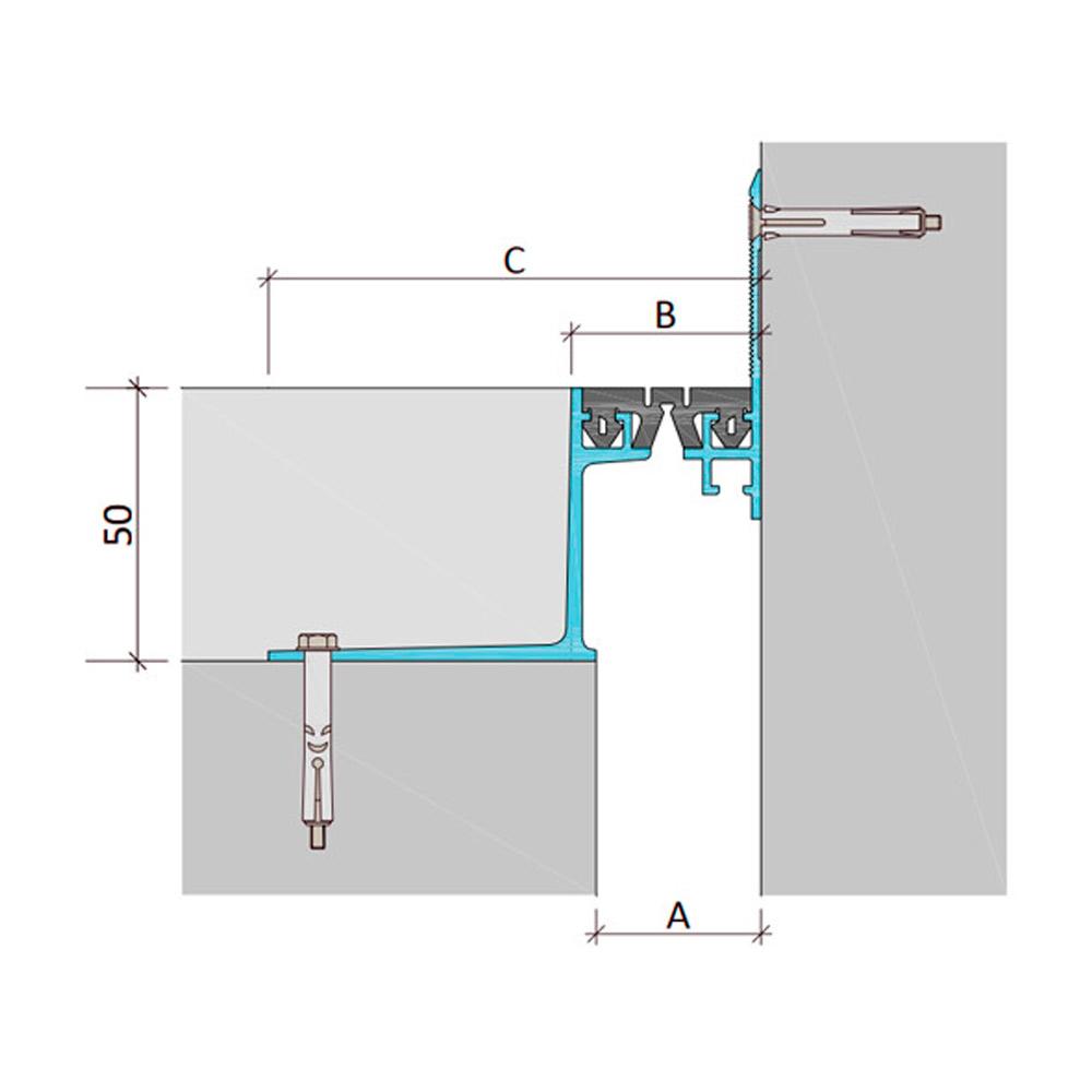 Закладной профиль для деформационного шва ДШВ-50-УГЛ/065 В0-068