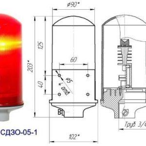 Заградительный огонь малой интенсивности СДЗО-05-1>10cd тип «А» 30-265V AC/DC IP54 Источник света