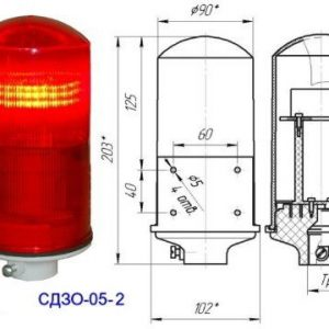 Заградительный огонь малой интенсивности СДЗО-05-2>32cd тип «Б»  30-265V AC/DC IP54  Источник света:
