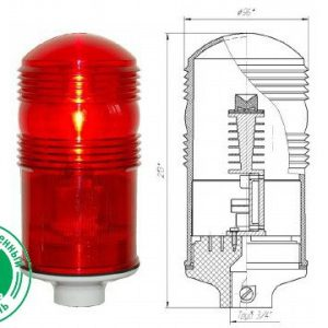 Заградительный огонь малой интенсивности ЗОМ-2>10cd тип «А» 30-265V AC/DC IP65