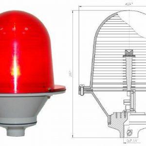 Заградительный огонь малой интенсивности «ЗОМ-2-АВ» >10cd тип «А» 30-265V AC/DC IP65