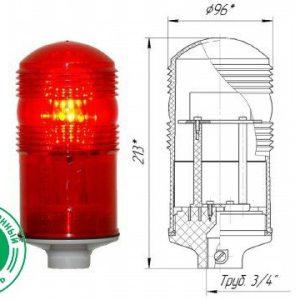 Заградительный огонь малой интенсивности ЗОМ-48LED >32cd тип «Б» 30-265V AC/DC IP65. Источник света: