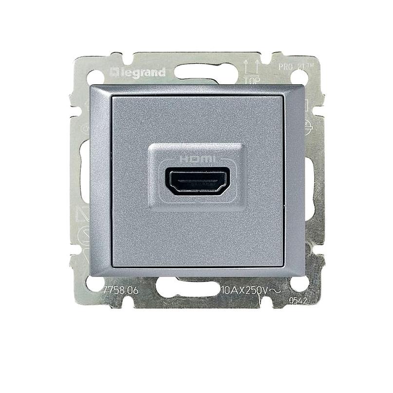 Розетка HDMI Legrand VALENA, алюминий