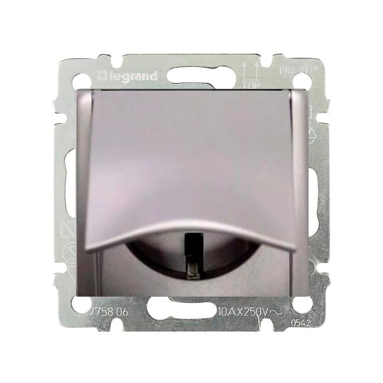 Розетка Legrand VALENA, скрытый монтаж, с заземлением, с крышкой, алюминий