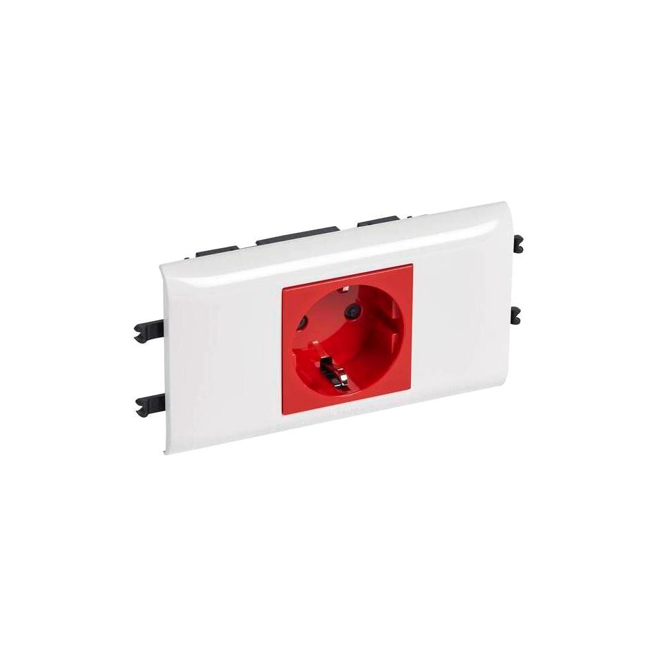 Розетка Legrand MOSAIC, в кабель-канал монтаж, с заземлением, со шторками, красный