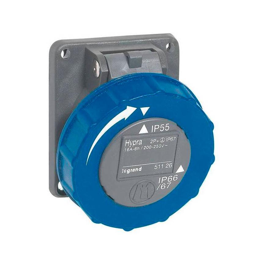 Встраиваемая розетка Hypra - IP 66//67-55 - 2К+3 - 16 А - пластик