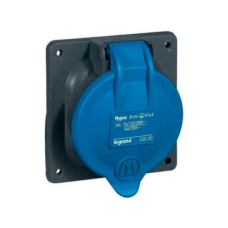 Встраиваемая розетка Hypra - IP 44 - 3К+Н+З - 16 А - пластик