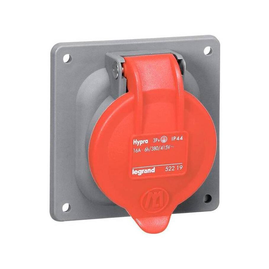 Встраиваемая розетка Hypra - IP 44 - 2К+З - 16 А - пластик