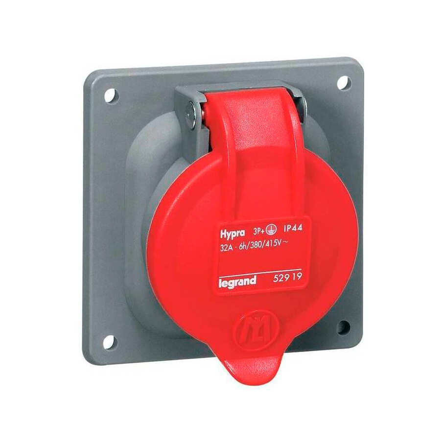 Встраиваемая розетка Hypra - IP 44 - 3К+З - 32 А - пластик