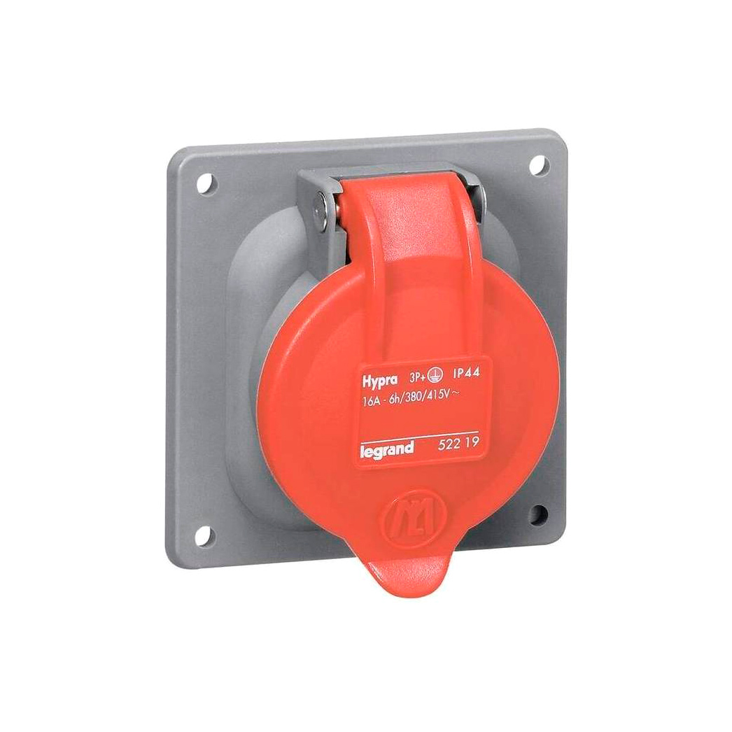 Встраиваемая розетка Hypra - IP 44 - 3К+Н+З - 32 А - пластик