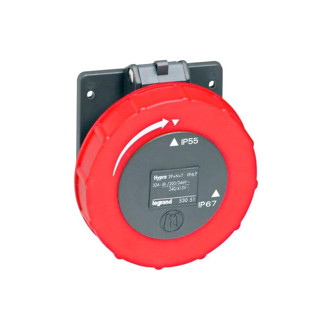 Встраиваемая розетка Hypra - IP 66//67-55 - 3К+Н+3 - 32 А - пластик