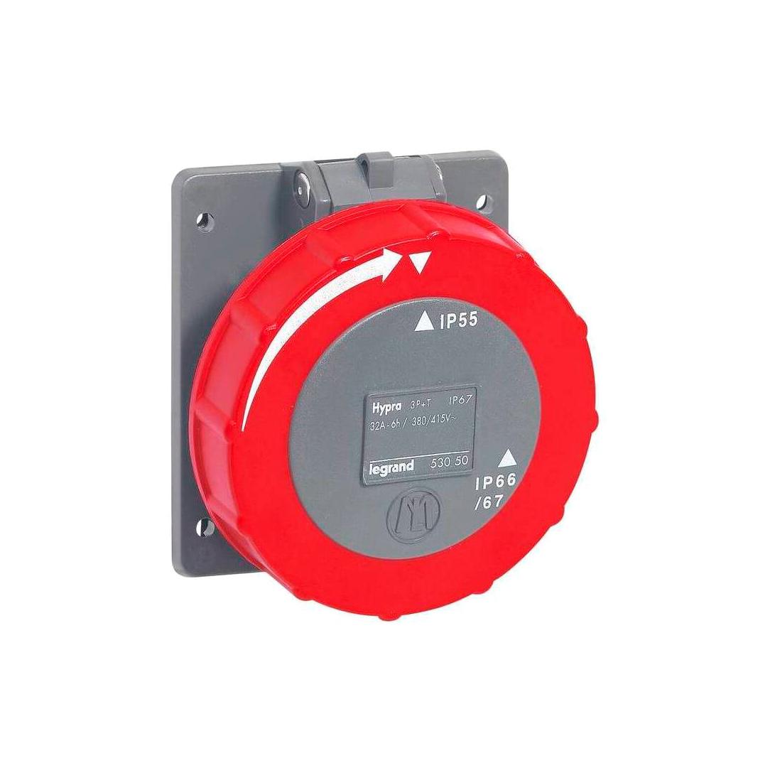 Встраиваемая розетка Hypra - IP 66//67-55 - 3К+3 - 32 А - пластик
