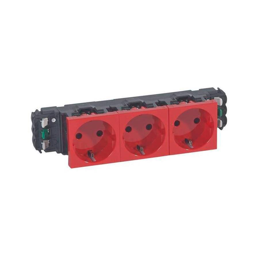 Розетка трехместная Legrand MOSAIC, в кабель-канал монтаж, с заземлением, со шторками, красный, 077413